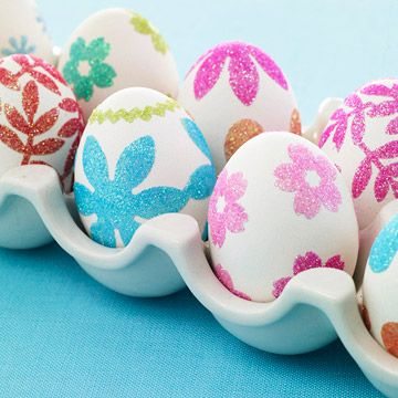 Floral Glitter Eggs