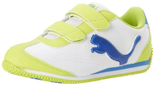 PUMA Speeder Illuminescent V Light-Up Sneaker (Toddler/Little Kid/Big Kid),White/Lime Punch/French Blue,13 M US Little Kid. Synthetic upper for long-lasting wear. Upper: Synthetic. Fit: True to Size. Outsole: Rubber. Removable Kinder-Fit sockliner and cushioned midsole for comfort. PUMA Cat logo lights up as your heel strikes the ground. Lightly padded tongue and collar. Durable rubber outsole with lug pattern for added stability and grip sole. Synthetic. Features of this item...