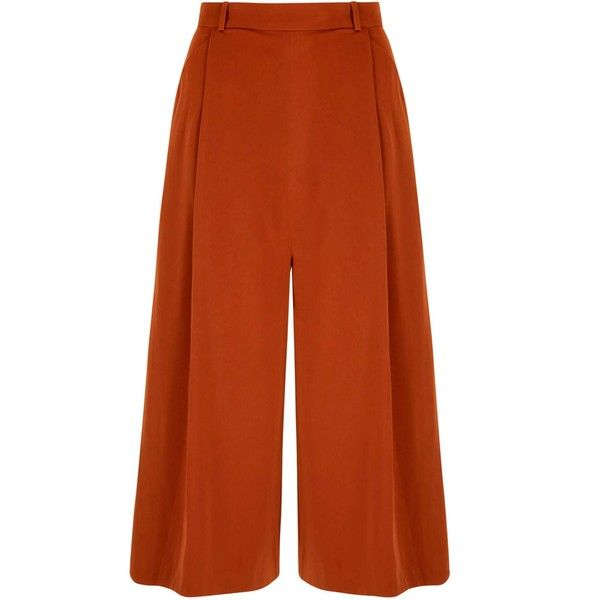 Yumi Wide Leg Culotte Trousers (£50) ❤ liked on Polyvore featuring pants, capris, brown, women, brown trousers, brown pants, wide-leg pants, zip pants and zipper pants
