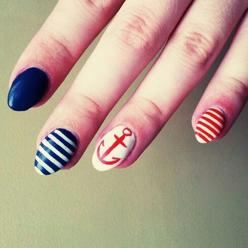 sailor, white stripes, blue, red anchor, navy blue, design, nails, summer, beach