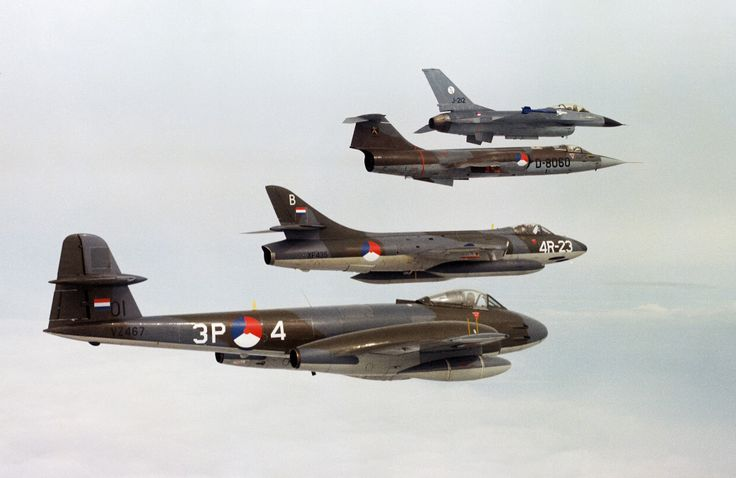 RNLAF, Gloster Meteor, Hawker Hunter, F104 Starfighter, F16 Falcon
