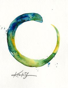 The Enso Of Zen . No17 . Original Contemporary Modern Zen Watercolor circle painting by Kathy Morton Stanion EBSQ