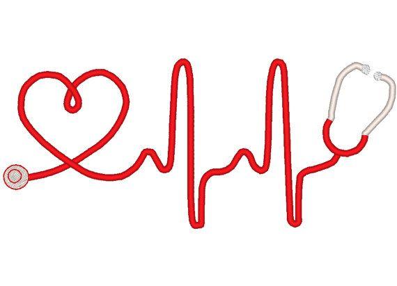 Heart Beat Stethoscope Machine Embroidery Design by EmbellishStar