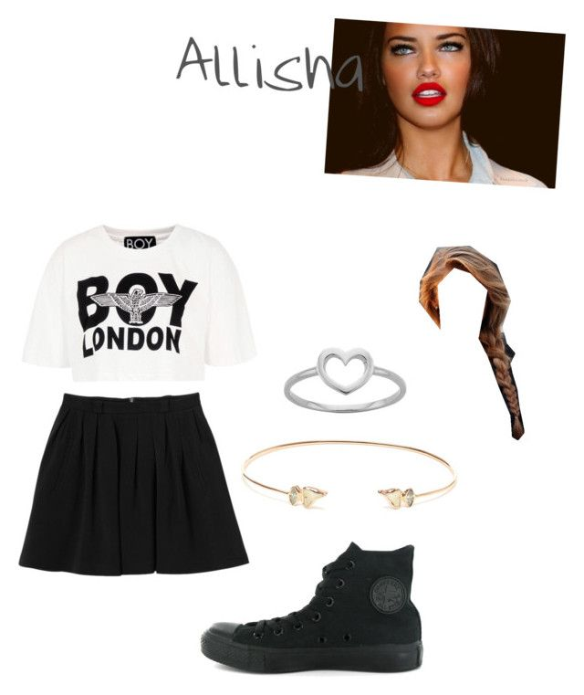 """""""Allisha's outfit-School"""" by cute-outfits ❤ liked on Polyvore featuring BOY London, Monki, Converse, Karen Walker and Dezso by Sara Beltrán"""