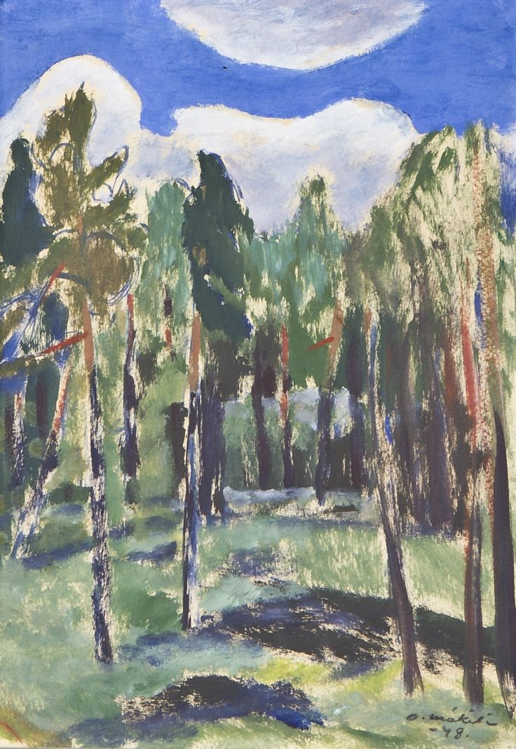 Otto Mäkilä: Puita, 1948, öljy, 31x23 cm - Hagelstam A135