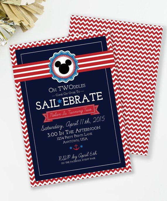 Sailebrate Birthday, Nautical Birthday Invitation, Mickey Inspired birthday, Oh Twoodles Invite, Nautical Party, Printable Invite,