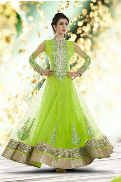 Green Net #Anarkali #Suit with Embroidered and Lace Work - 20,549.  #zohraa