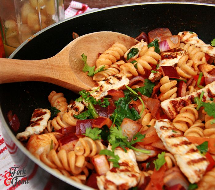 Grilled Turkey Steaks with Spinach, Garlic & Herb Fusilli - Fork and Good.