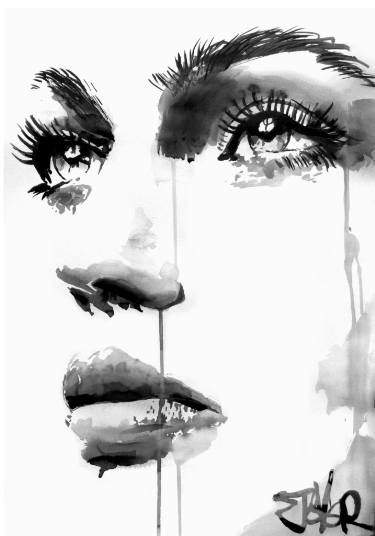 "Saatchi Art Artist Loui Jover; Drawing, ""face study #17"" #art:"
