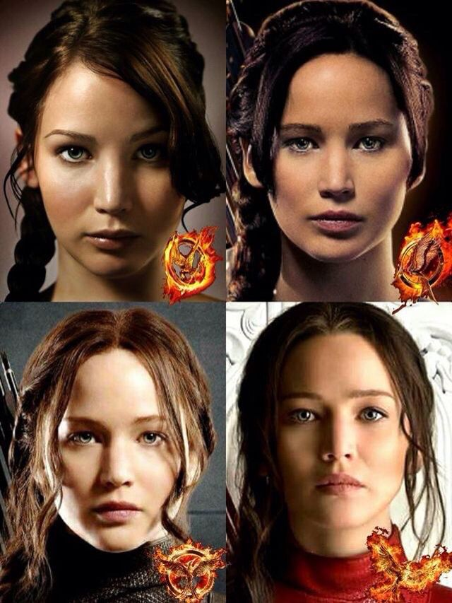Katniss in the Hunger Games to Mockingjay Part 2 >> her head slowly tilt upward as the movies progress