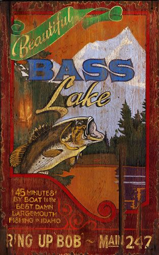 Bass Lake - Vintage Lake Fishing Sign - name/place name is customizable (a variety of other themes - large and small sizes)