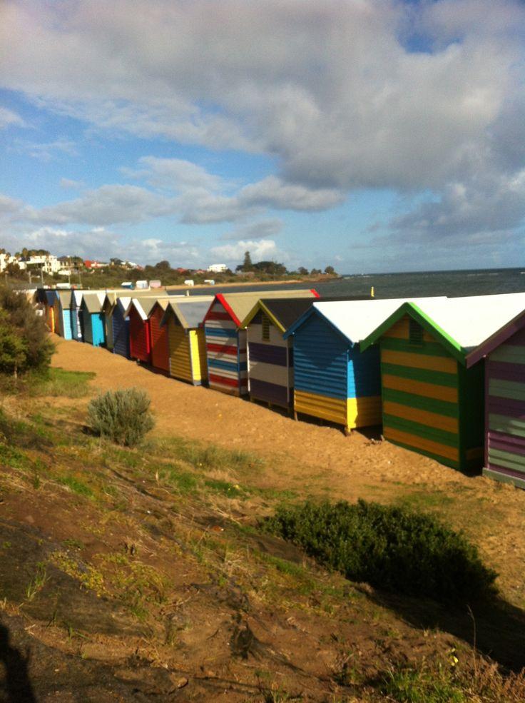 Back of bath houses Brighton Beach Melbourne Australia