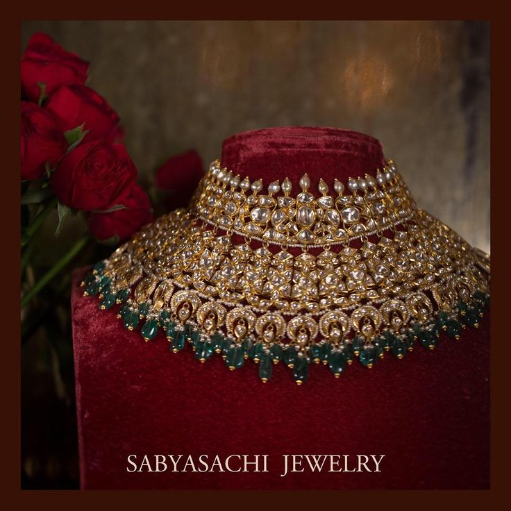The classic Sabyasachi bridal choker. Set in 22k gold, uncut diamonds, Japanese culture pearls and Zambian emeralds. For all jewellery related queries, kindly contact sabyasachijewelry@sabyasachi.com #Sabyasachi #SabyasachiJewelry #TheWorldOfSabyasachi