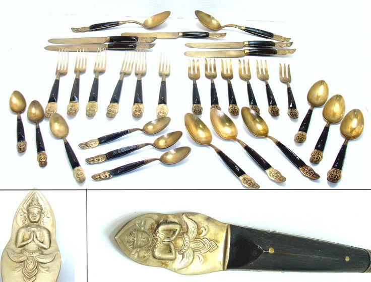 Vintage siam flatware set-31 old brass wood silverware set-fork spoon knife serving spoons-oriental flatware set-old asian utensils set by BECKSRELICS on Etsy