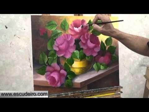 (Aula 01 / 5) Video aula pintura em tela rosas Marcio Monteiro - YouTube