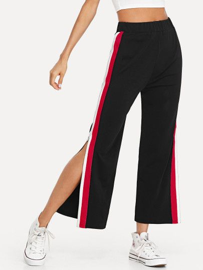 62c398fc32 Shop Contrast Striped Side Split Pants online. SheIn offers Contrast Striped  Side Split Pants & more to fit your fashionable needs.