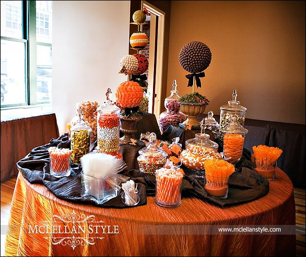 navy And Orange Wedding Decorations | Any candy fitting the orange and brown color scheme seemed to be fair ...