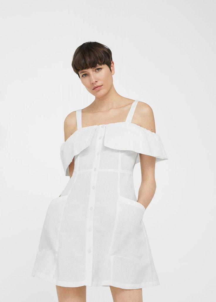 Vestido lino off-shoulder - Vestidos de Mujer | MANGO España