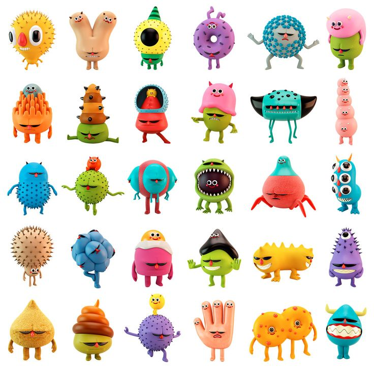 Character design of virus and defenses for an educational online video game for kids related to medicine.