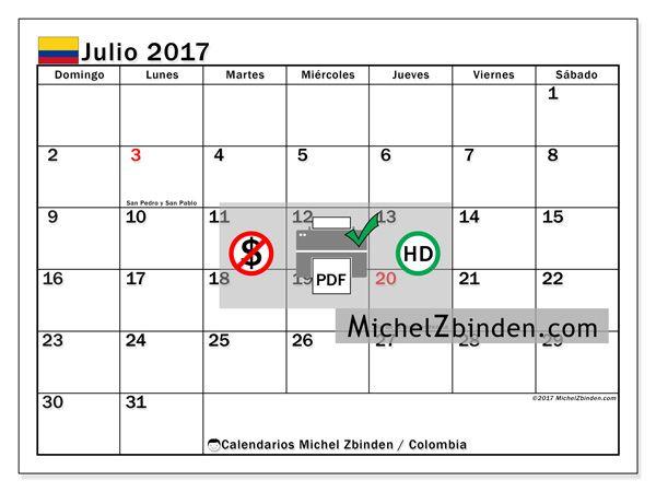 Calendario para imprimir julio 2017 - Días festivos en Colombia