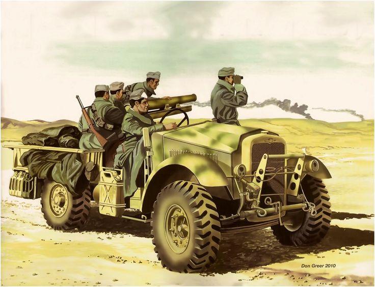 Cannone da 65 millimetri italiano, montato su un camion britannico catturato, un Morris C8.