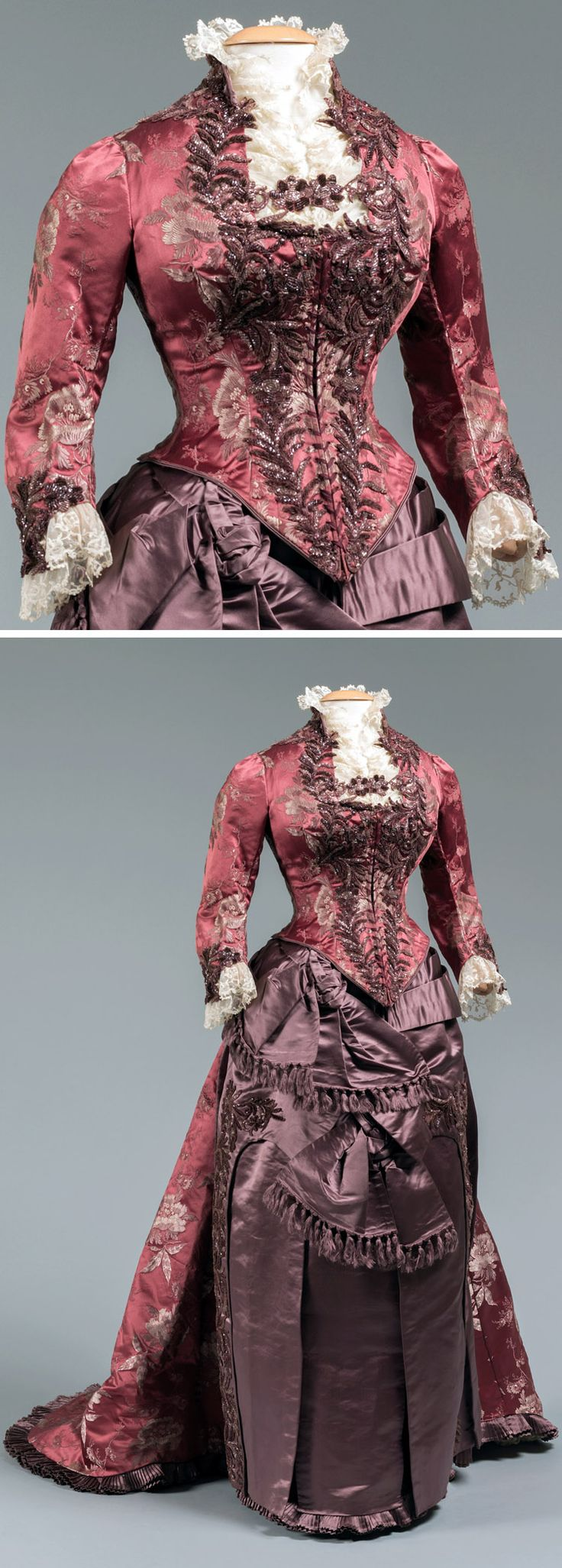 "Dinner dress, Levillon, Paris, ca. 1875. Burgundy silk brocade and purple silk satin with beadwork. Western Reserve Historical Society: ""This two-piece dress of rich tones in complimentary textures embodies the Victorian belief that dress should add to one's elegance. It was custom made in Paris."""
