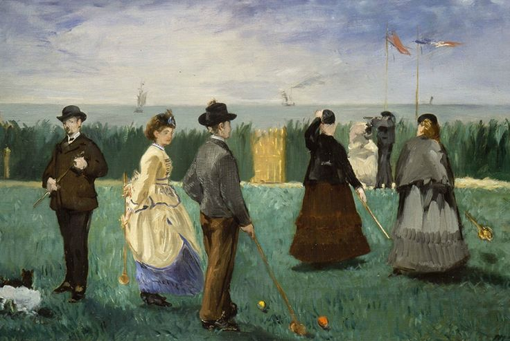 Edouard Manet, The Croquet Party, 1871. Oil on canvas, 18 x 28 3/4 in. Gift of Henry W. and Marion H. Bloch, 2015.13.11.