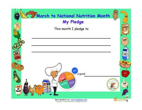 National Nutrition Month Pledge Certificate For Children. This is cool too bad this month I can't help out kiddos.