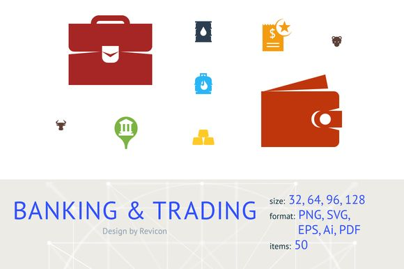 Banking and trading (50 icons) by Revicon on @creativemarket