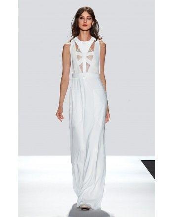 BCBG MAXAZRIA BIJOU WHITE FULL LENGTH SILK DRESS JAY6W933-114