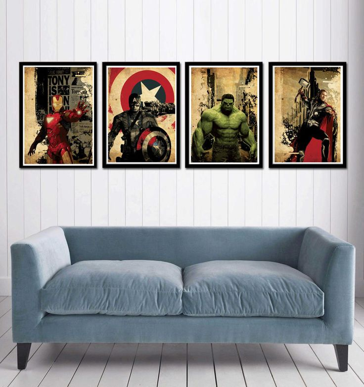 Avengers Movie Poster - Iron Man, Captain America, Hulk, Thor #ArtDeco