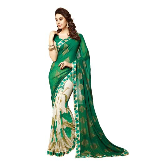 Georgette bollywood saree with unstitched blouse piece032