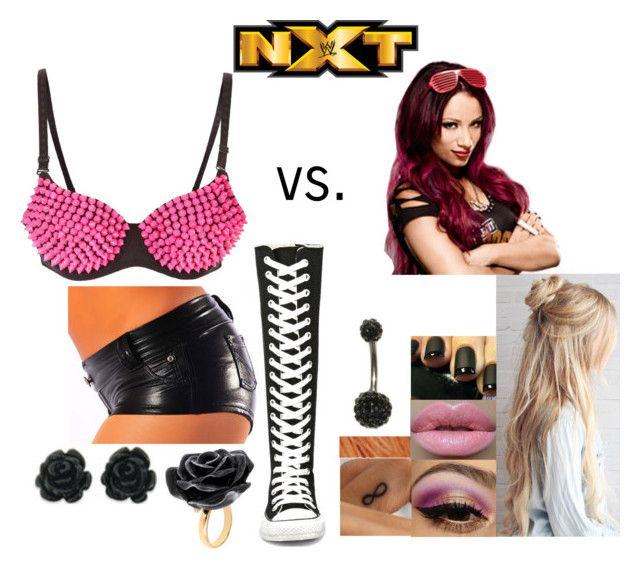 """NXT: Jade vs. Sasha Banks"" by godslastgift ❤ liked on Polyvore featuring Converse, Color Me, Eternally Haute and Nach Bijoux"
