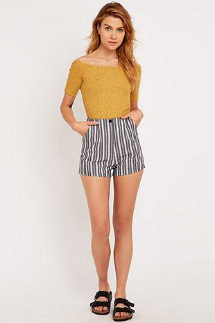Urban Outfitters Smart Shorts in Ivory Stripe - Urban Outfitters