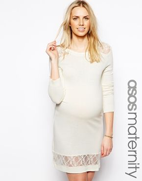 ASOS Maternity Exclusive Jumper Dress With Lace Insert