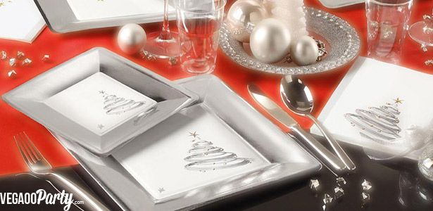 vaisselle jetable no l et d coration chic et argent e sur vegaooparty nos th mes no l. Black Bedroom Furniture Sets. Home Design Ideas