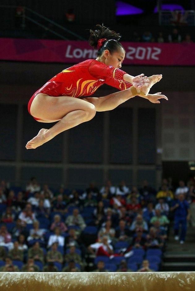 Sui Lu (China) on balance beam at the 2012 London Olympics