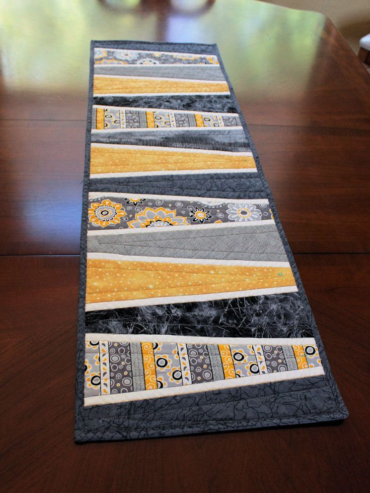 Modern Table Runner Quilt In Gray And Yellow. $45.00, Via Etsy.