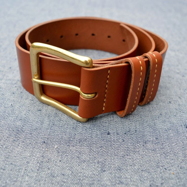 """Men's/Women's Leather belt """"Thor"""" 50 mm wide casual 3rd"""