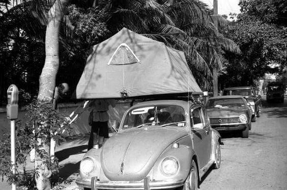 I find it interesting that a lot of the vintage Tent Topped Camping photos I come across are VW based Compact Car Campers