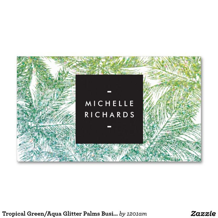 Tropical Green/Aqua Glitter Palms Business Cards for Spray Tanning Salons, Mobile Spray Tanning, Swimwear Brands and more. Ready to personalize for you!