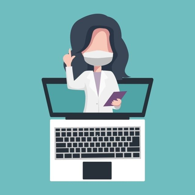 Female Doctor Attending Via Laptop In Telemedicine Illustration Online Doctor Png And Vector With Transparent Background For Free Download Female Doctor Illustration Telemedicine
