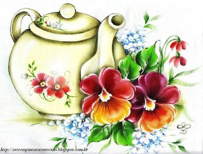 Pintura Bule e Flores