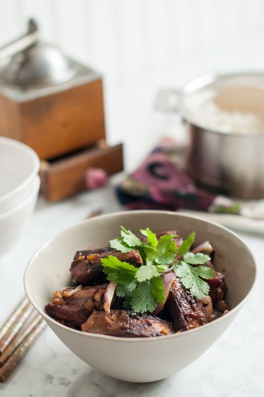 Pork Ribs Braised in Young Coconut Juice. Recipe adapted from Luke Nguyen…