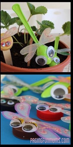 Bugs With Bottle Caps Craft For Kids / b-inspiredmama.com