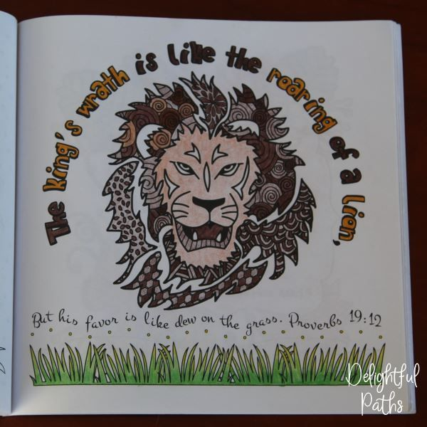 Proverbs adult coloring book from Delightful Paths Proverbs 19:12 NASB