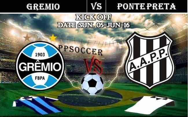 Gremio vs Ponte Preta 05.06.2016 Free Soccer Predictions, head to head, preview, predictions score, predictions under/over Brazil: SERIE A