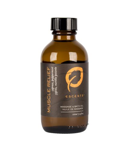 Muscle Relief Bath & Massage Oil with Cypress and Peppermint essential oils to reduce inflammation.