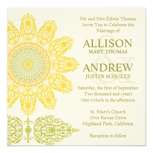 Sunflower Wedding Invitation - Available in different colors. Original Illustration by pj_design.