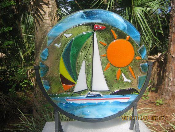 Sal agua TAFFY arte fusionados con vidrieras por IZABELLAArtGlass